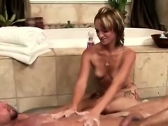 Blonde masseuse with hot tattoos takes care of horny stud