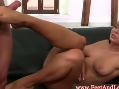Victoria Blaze has feet squirted with cum