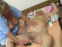 Chubby granny, big pussy, big tits and dildo
