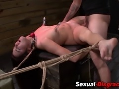 Bound and nipple suctioned sub throats and fucks in hd