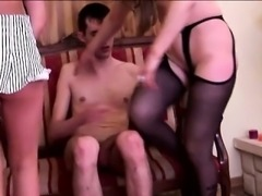 Blonde mom teaching girl how to take anal