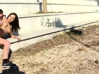 Sexy babe bounces on cock in public