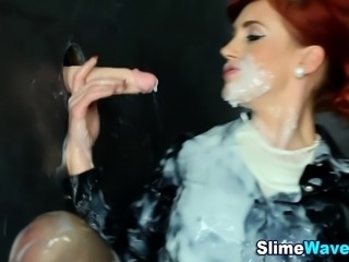 Glam clothed gloryhole ho gets bukkaked in fake cum