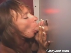 Mature brunette amateur slut sucking off a total and complete stranger...