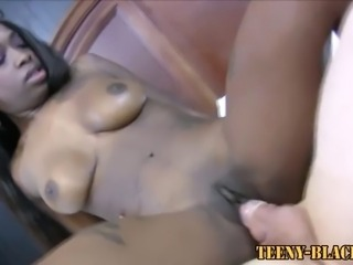 Busty ebony teen beauty fucked hard by horny dude and loving it