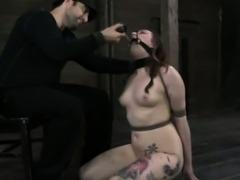 Box tied skank handling dildo by kinky maledom master