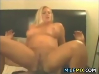 Thick mother enjoying two big black cocks in this threesome