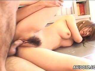 Two sweet Japanese girls suck on stiff throbbing dicks. One of them bends over and takes a hard cock deep down her delicious hairy pussy.