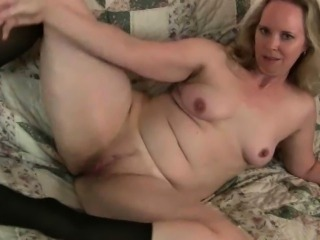 Mom\'s pantyhosed pussy gets her all hot and horny