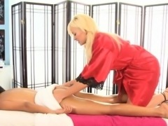 Masseuse lesbian oils up and rubs