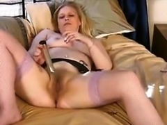 Mature Blonde Woman Masturbating
