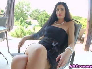 Internal cumshot filled raven being pussy slammed outdoor