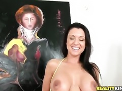 Mature hottie with huge tits and trimmed muff lets man fuck her sweet mouth