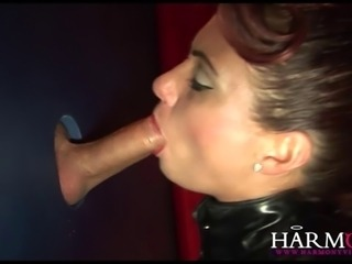 Poppy Morgan and Donna Marie are elegant sluts that face the gloryhole and suck cock for pleasure! They want more and take it up their ass and finish off with a jizz funnel mask!!