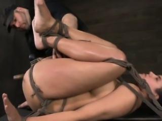 Balltied sub dildofucked and spanked