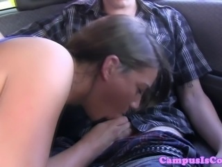 Real sophomore slut giving head outdoor on the road