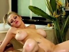Skinny busty masseuse slides