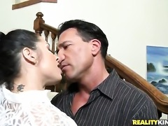 Marco Banderas puts his dick in hot bodied Monica Santhiagos mouth before anal sex