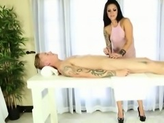 Inked masseuse catches all the cumload from her clients dick
