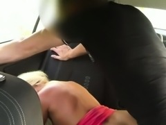 Hot blonde amateur banging in the car in public