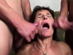 Mature whore gets facial after fucking