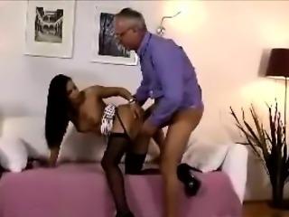 Young brunette slut getting older British cock