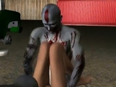 3D brunette babe gets double teamed by zombies