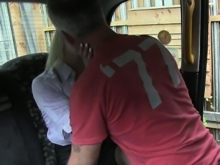 Cheated British wife fucked in fake taxi and outdoor