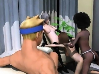 Four sexy 3D cartoon lesbian babes having group sex