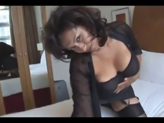 Busty mature Danica in open girdle and stockings
