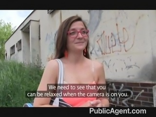 PublicAgent - Brunette glasses spit roasted