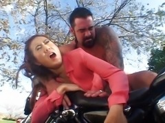 Biker takes on asian twat hard