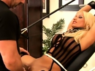 Big clit in tight rope action is huge and gets fucked