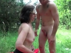 The great outdoors wets grandma\'s appetite for cock and cum