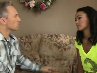 Horny ebony babe Harley Dean gets pounded by her step Dad