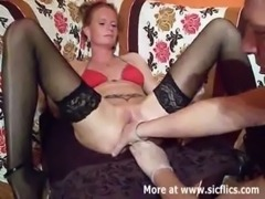 Fist fucking the wifes huge cunt till she squirts free