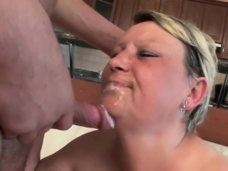 Blow your load on grandma\'s face and belly