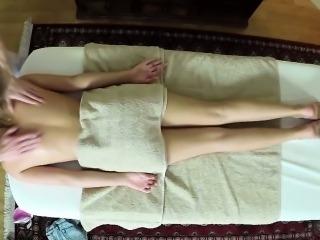 Dumb blonde gets massage from pervy masseur