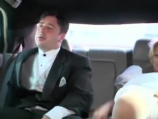 Cuckold Groom Sees His Bride having made love inside Limo