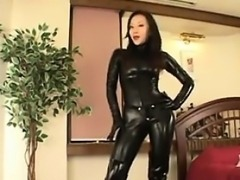 Japanese Girl In Latex Dominating A Man