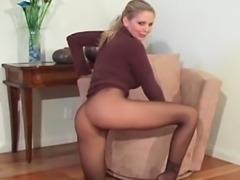 Vagina stretching in pantyhose