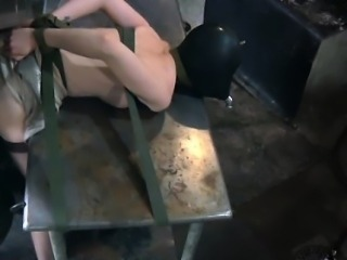 Bondage hooded skank enjoys breath play