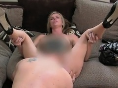 Big tits and ass blonde on casting fucking
