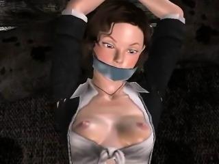 Tied up 3D brunette babe gets fingered and sucks cock