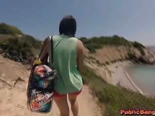 Hot babe Valentina Nappi fucked on beach in public!
