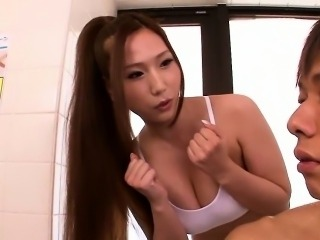 Natural busty Japanese Ai Sayama squirts
