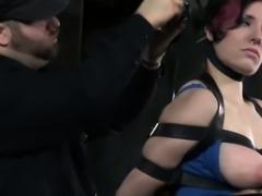 Kinky bdsm sub with tattoos tied up