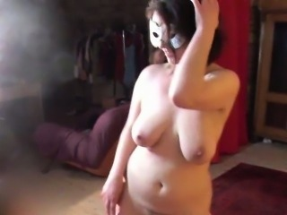 Chubby 19yo cutie shows her big boobs and trimmed pussy