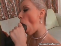 Nasty blonde MILF sucks big fat black free