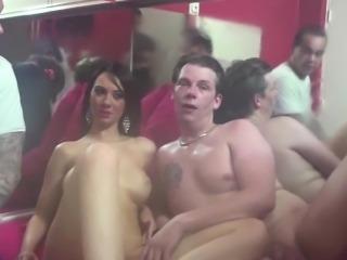 Euro prostitute gets cumshot on belly